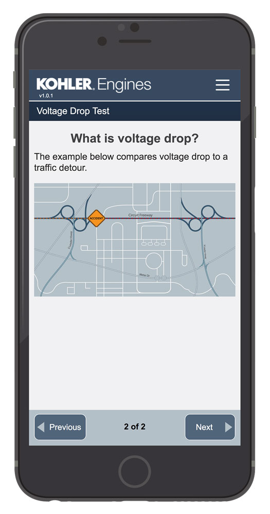 Kohler Mobile Application - Voltage Drop Test 2